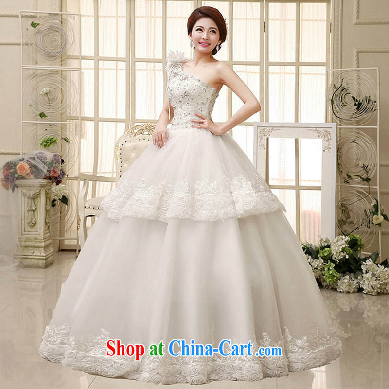 There is a stylish high-end floral wedding sweet bridal lace hand drill set the shoulder wedding Al 00,285 white XXL