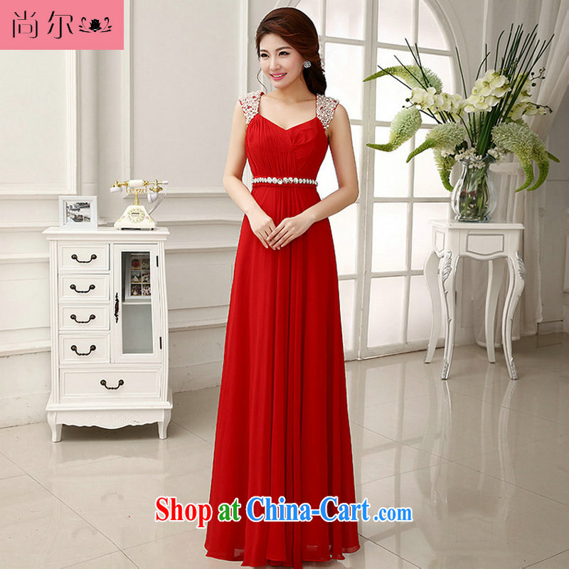Still, 12,014 new dress Korean elegant shoulders the commander dress sister dress Al 00,280 red XXL