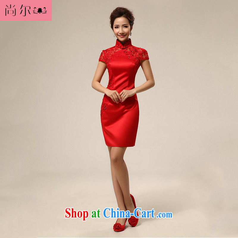 There's a new red dresses wedding dresses wedding dresses bridal short bows, Al serving 00,257 red XXL
