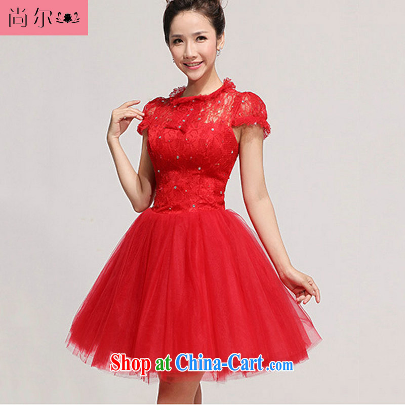 Still, 12,014 new erase chest lace package shoulder flowers knee sister bridesmaid dresses small Al 00,269 red XXL
