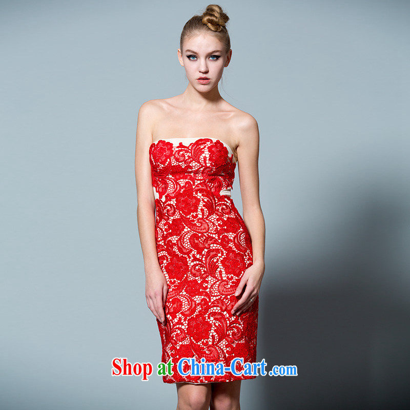 Bridal the wedding toast service 2015 new spring_summer bridal dresses lace short 30220913 red L code 165 _88 in stock