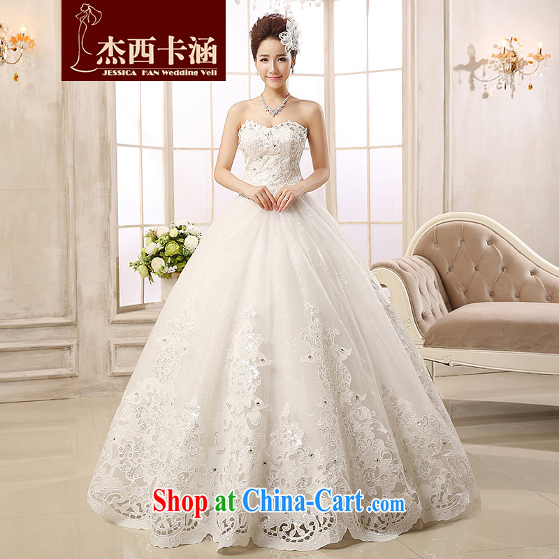 Jessica Mary Magdalene covered chest wedding dresses 2014 new stylish winter marriages with strap drill lace Korean Beauty graphics thin stylish 2142 m White XXL