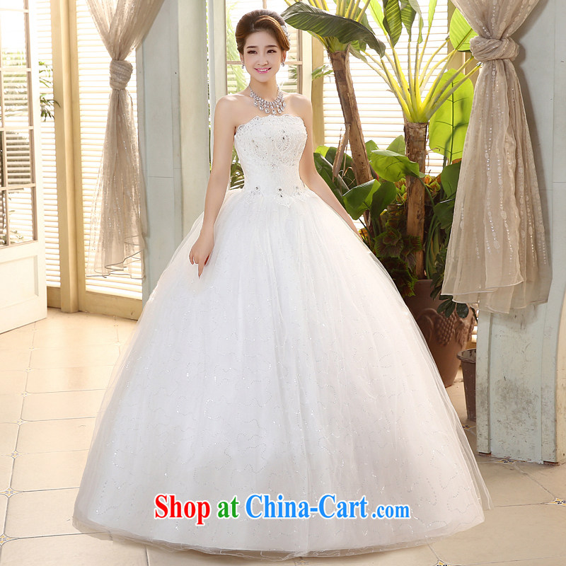 The United States, wedding dresses 2015 new Korean bridal wedding lace beaded parquet drill wiped chest strap beauty graphics thin with H - 72 white S