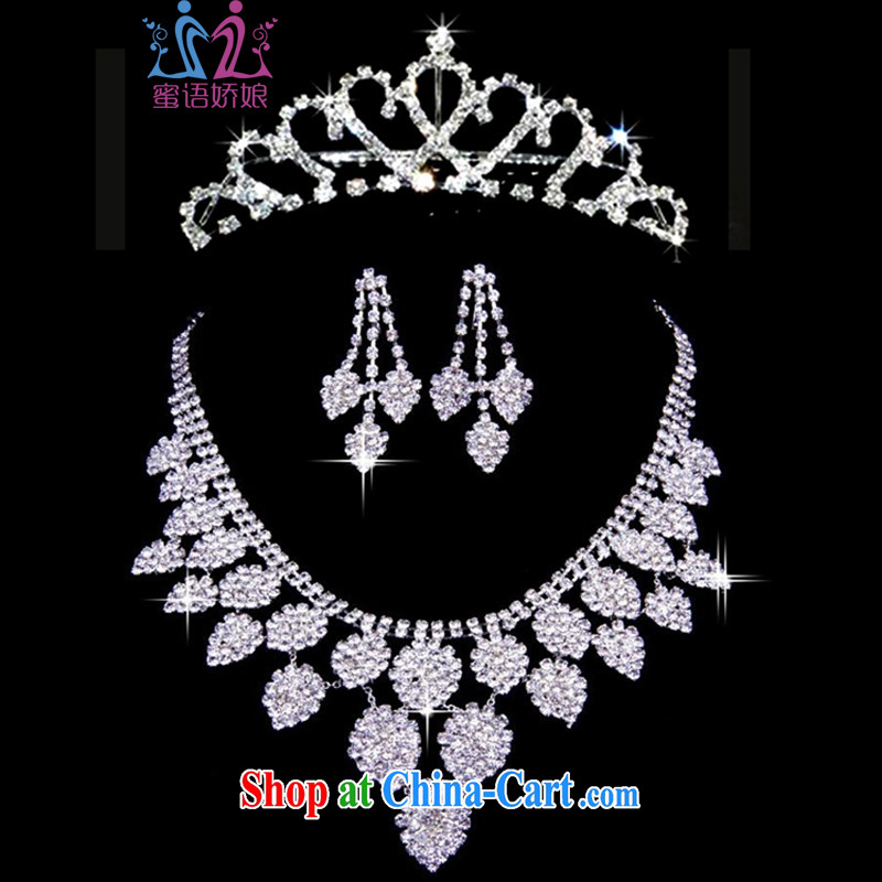 Honey, bride wedding accessories bridal jewelry wedding accessories kit link Crown wedding head-dress 3 piece wedding Korean jewelry set necklace jewelry set link picture color