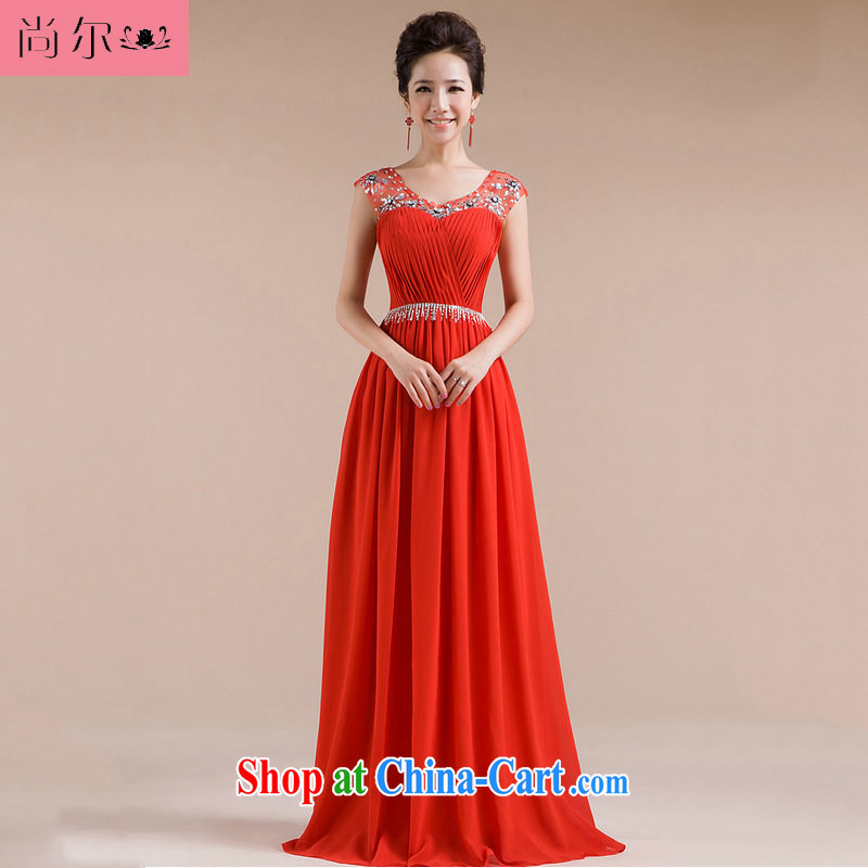 Still, 12,014 new bridal wedding dresses evening dress uniform toast long snow woven dresses Al 00,263 red XXL