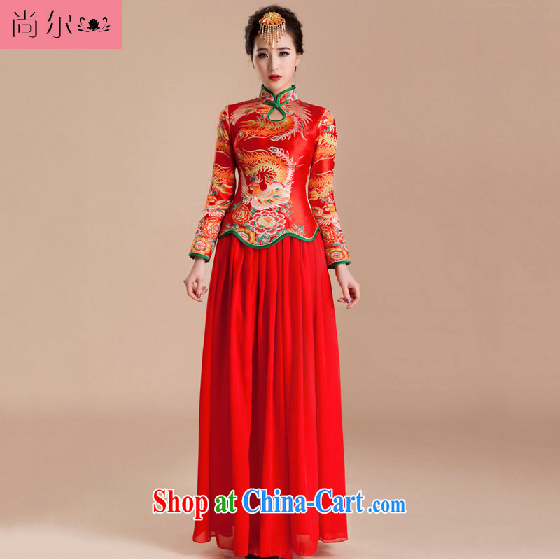 There's a red wedding dresses long sleeved dresses reload retro-mother toast wedding clothes Al 00,258 red XXL