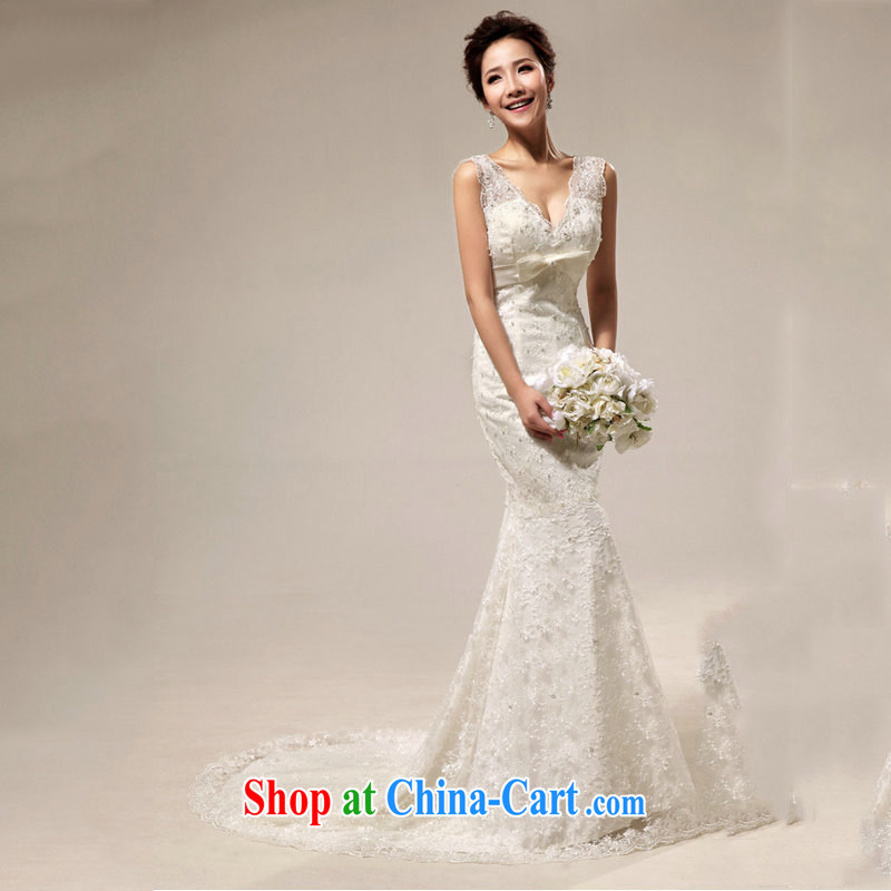 Still, 12,014 New royal retro Deluxe lace beauty crowsfoot tail bridal wedding Al 00,311 white XXL