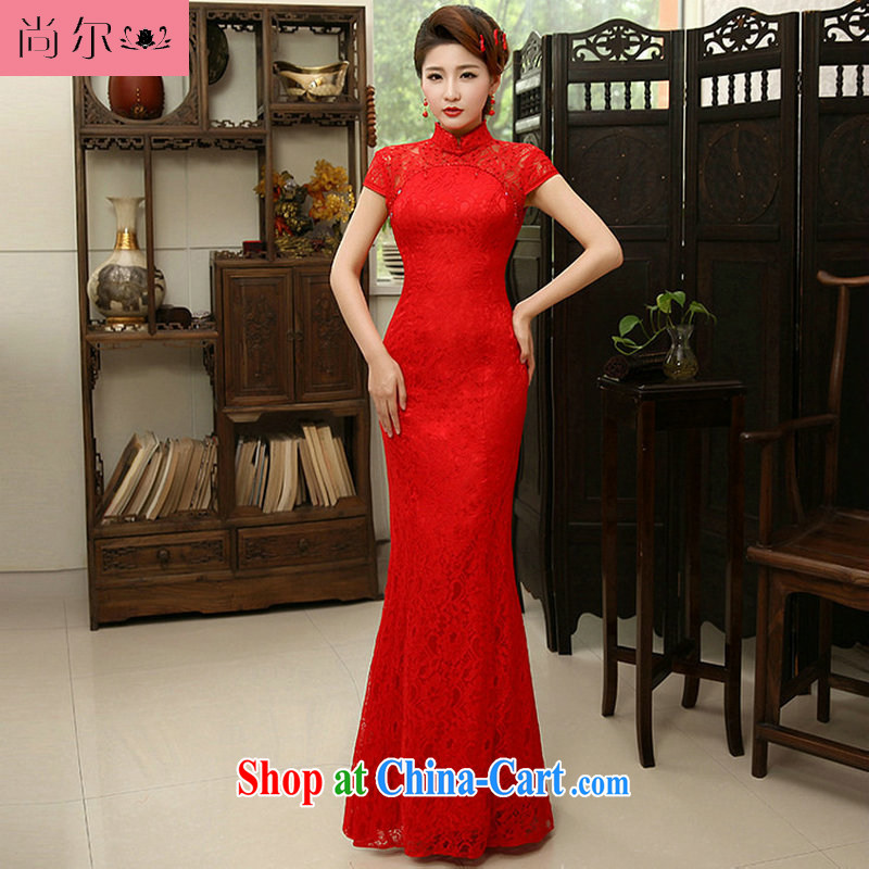 Still, 12,014 new Chinese marriages red crowsfoot lace long cheongsam dress Al 00,308 red XL