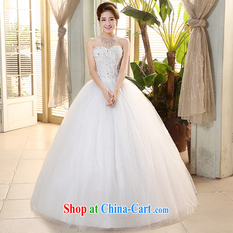 The United States and the wedding dresses 2015 new heart-shaped smears chest parquet drill cultivating graphics thin white with bride's wedding band H - 74 white XL