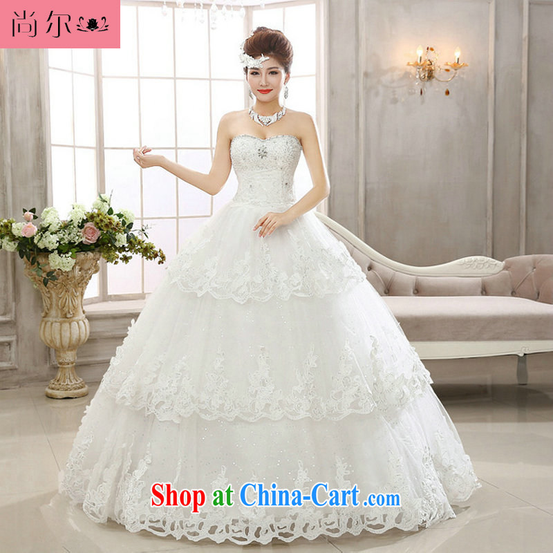 There's a new paragraph wiped chest water drilling nails Pearl graphics thin-bone flower bridal wedding dresses ultra flash wedding Al 00,298 white XXL