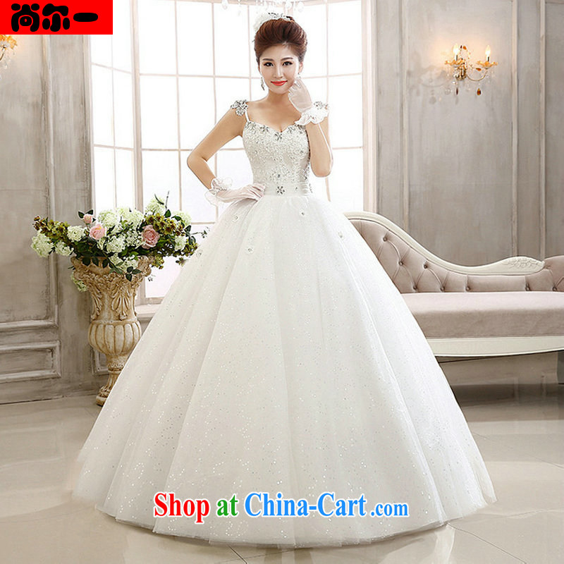 Still, 12,014 lace flash drill shoulder strap with skirts Princess bridal wedding dresses Al 00,293 white XXL