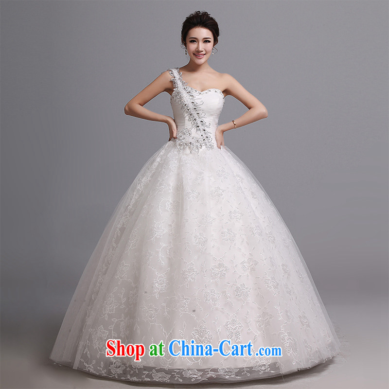 Hi Ka-hi wedding dresses 2014 new sense of the shoulder with a strap marriages stylish Korean wedding J 021 white XXL