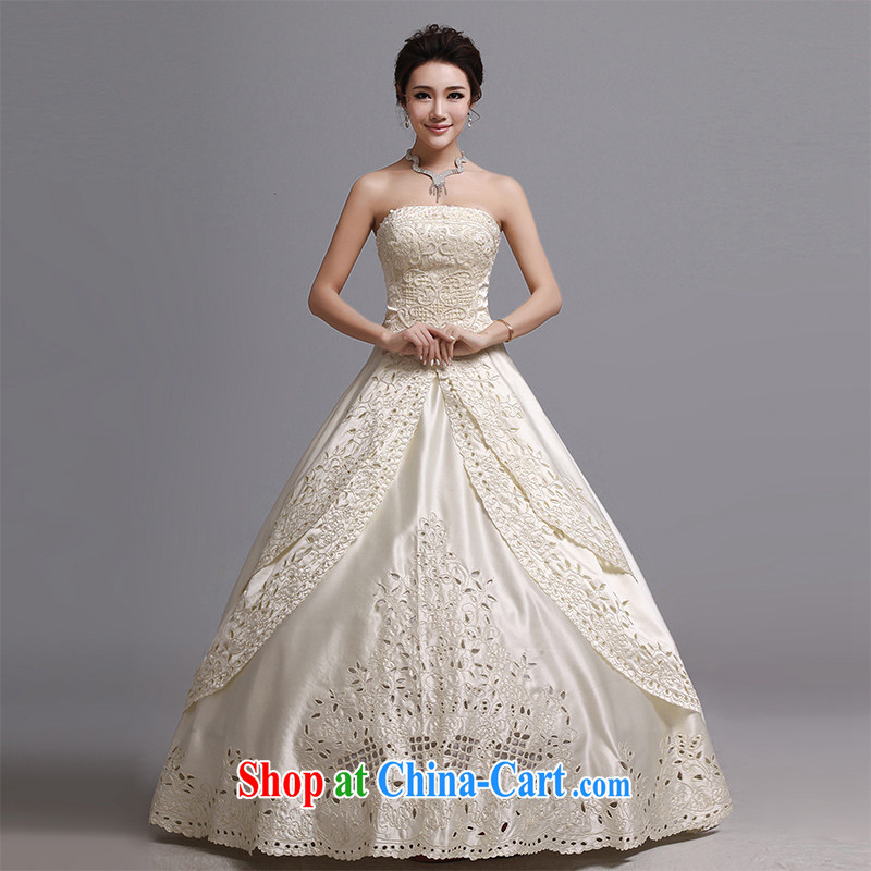 Hi Ka-hi wedding dresses 2014 new Korean version wiped his chest to tie wedding bridal marriage wedding J 020 m yellow XXL