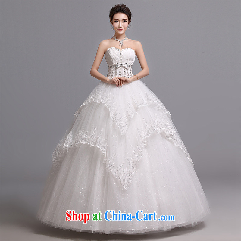 Hi Ka-hi wedding dresses 2014 new Korean version wiped his chest and tied with marriages wedding J 016 white XXL