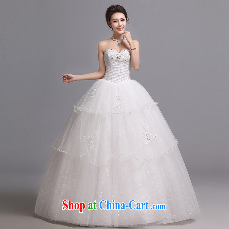 Hi Ka-hi wedding dresses 2014 new Korean version wiped his chest and tied with marriages wedding J 015 white XXL
