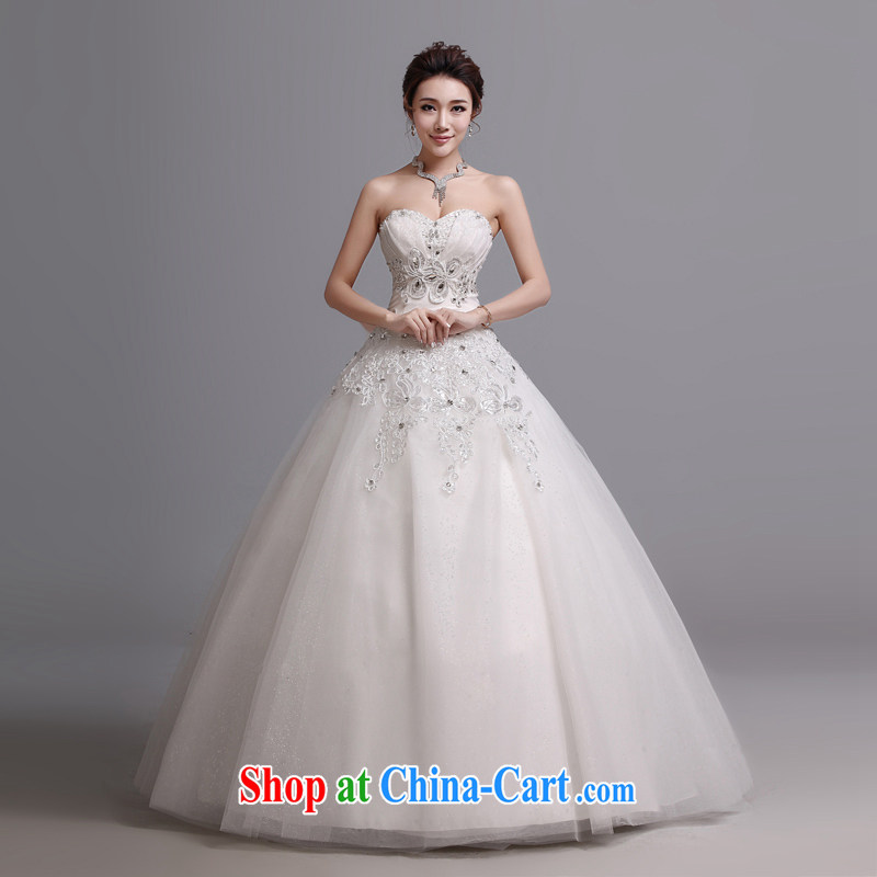 Hi Ka-hi wedding dresses new 2014 Korean Beauty graphics thin new wiped off his chest to tie wedding J 017 white XXL