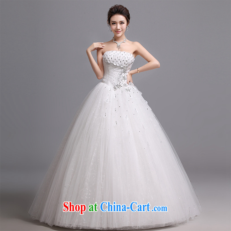 Hi Ka-hi wedding dresses 2014 new Korean version wiped his chest and tied with Korean Princess sweet lady wedding J 013 white XXL