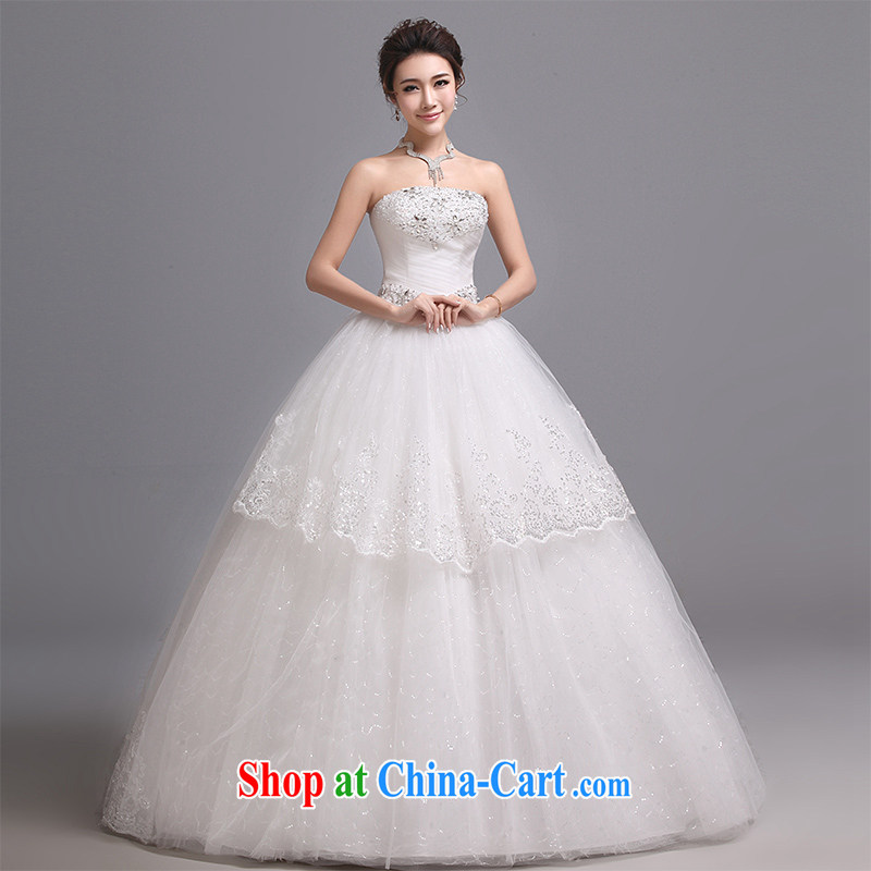 Hi Ka-hi wedding dresses 2014 new Korean version wiped his chest and tied with luxury water drilling lace 4 quarter J paragraph 012 white XXL