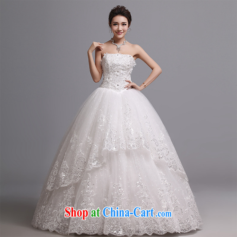 Hi Ka-hi wedding dresses 2014 new Korean version wiped his chest and tied with marriages wedding J 010 white XXL