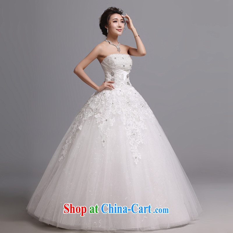 Hi Ka-hi wedding dresses 2014 new Korean version wiped his chest and tied with marriages wedding J 008 white XXL