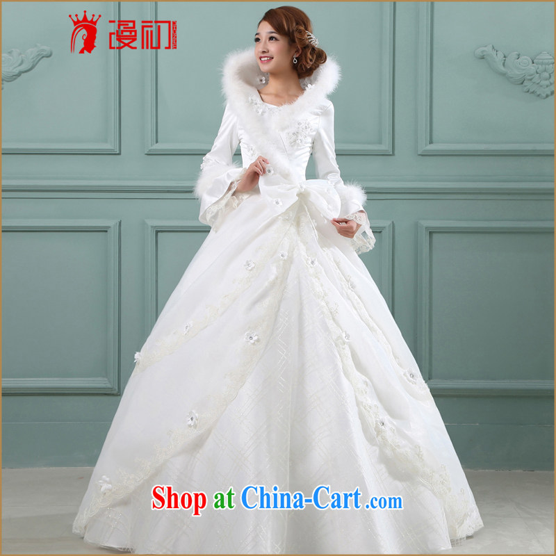 Early definition 2015 new winter bridal wedding Korean Princess with winter, wedding dresses white long-sleeved winter clothes white XXL
