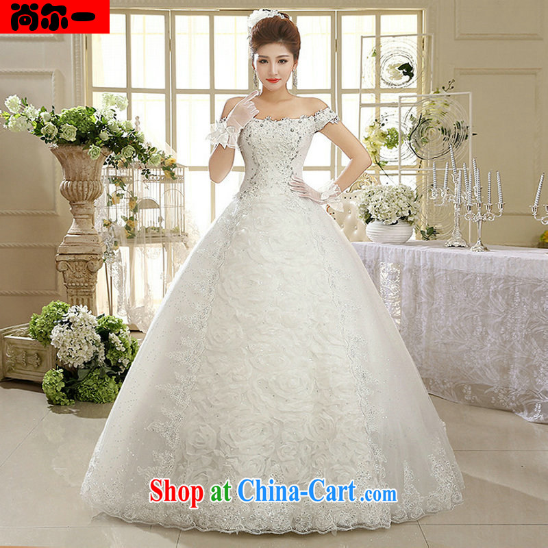 Still, 12,014 New White Dress wedding dresses Korean field shoulder retro lace, Al 00,315 white XXL
