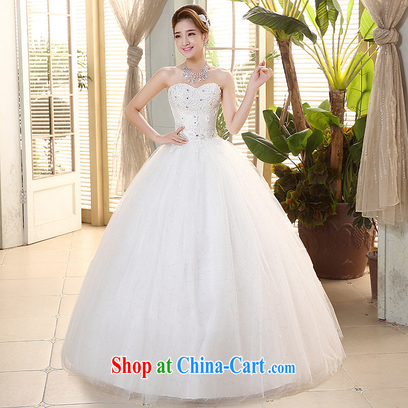 The United States, wedding dresses 2015 new Korean wood drill heart-shaped bare chest lace bead flower tie-cultivating graphics thin with H - 73 white XL