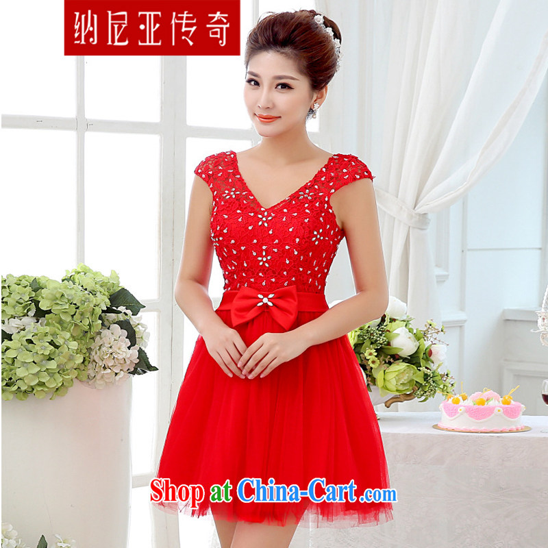 The Chronicles of Narnia 2015 marriages shoulders red short dress style package shoulder bows service beauty bridesmaid clothing Red N 15 - 001 XXL