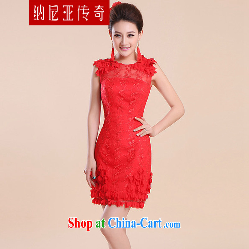 The Chronicles of Narnia 2015 marriages, short bows serving red cheongsam Dinner hosted small dress double-shoulder lace bridesmaid clothing Red N 15 - 004 XXL