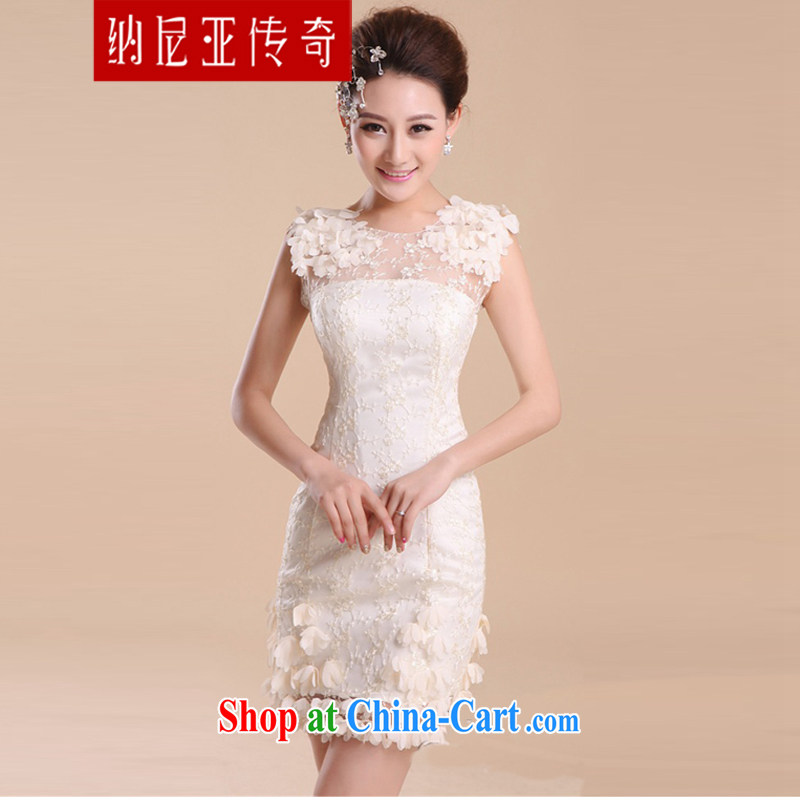 The new 2015 sexy shoulders wedding bridesmaid dress uniform Openwork lace bare chest small dress wedding dresses white XXL