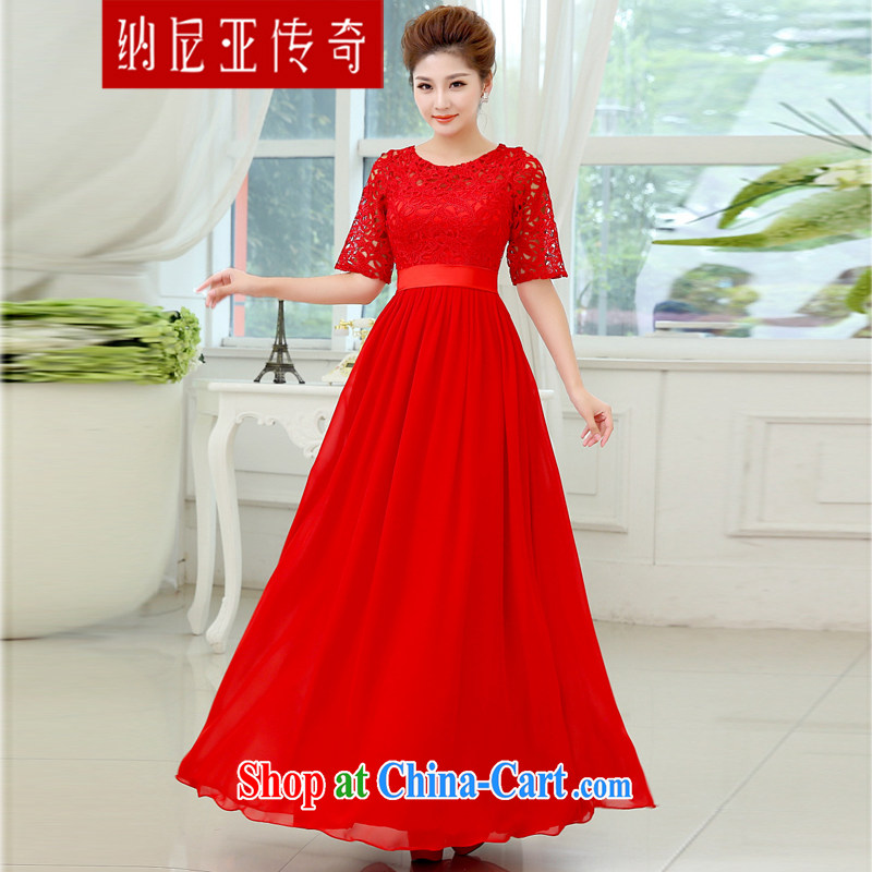 The Chronicles of Narnia 2015 new marriages red evening dress long serving toast beauty lace wedding dress red XXL