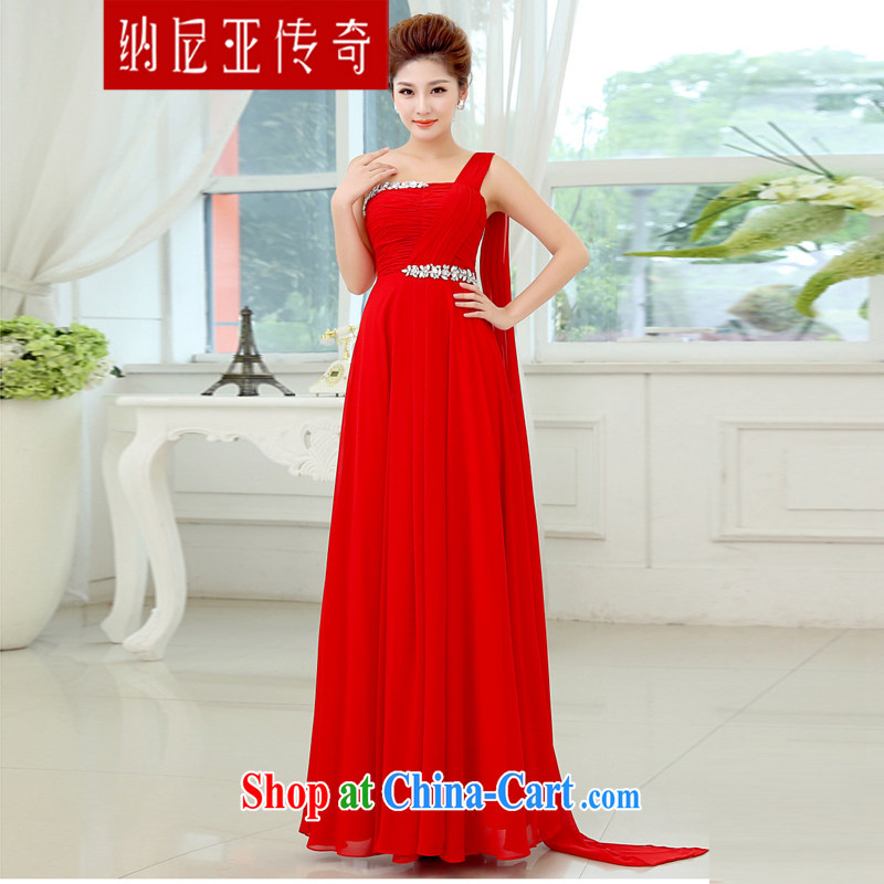 The Chronicles of Narnia red evening dress 2015 new wedding dress single shoulder line serving toast cultivating tail, bridal wedding dress red XXL