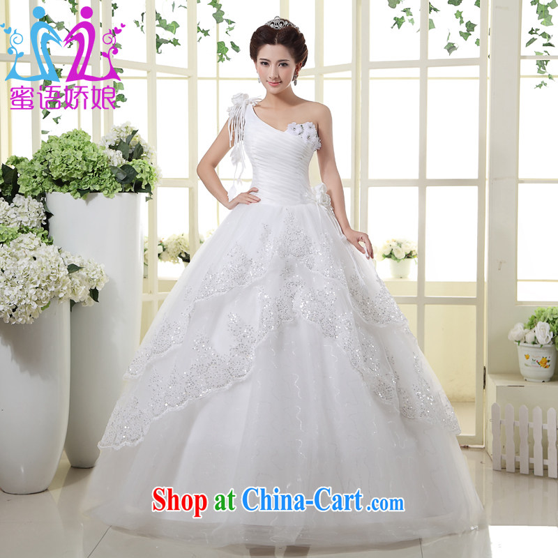 Honey, bride wedding dresses 2015 new single white with Korean Princess graphics thin customizable large code wedding white XXL
