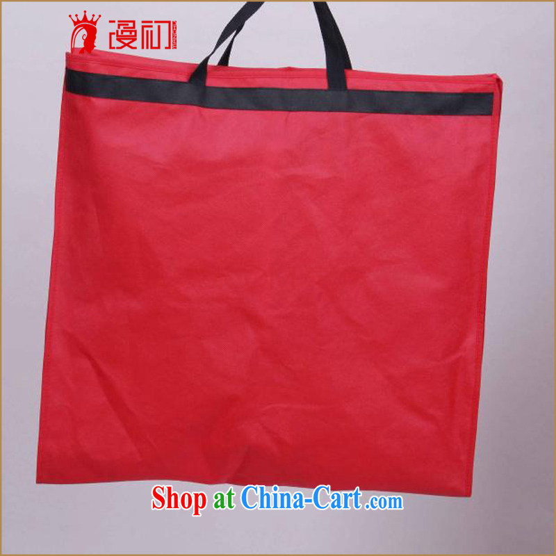 Early definition non-woven cloth red dust hood pulled up with two wedding dresses professional pouch dust bag red are code