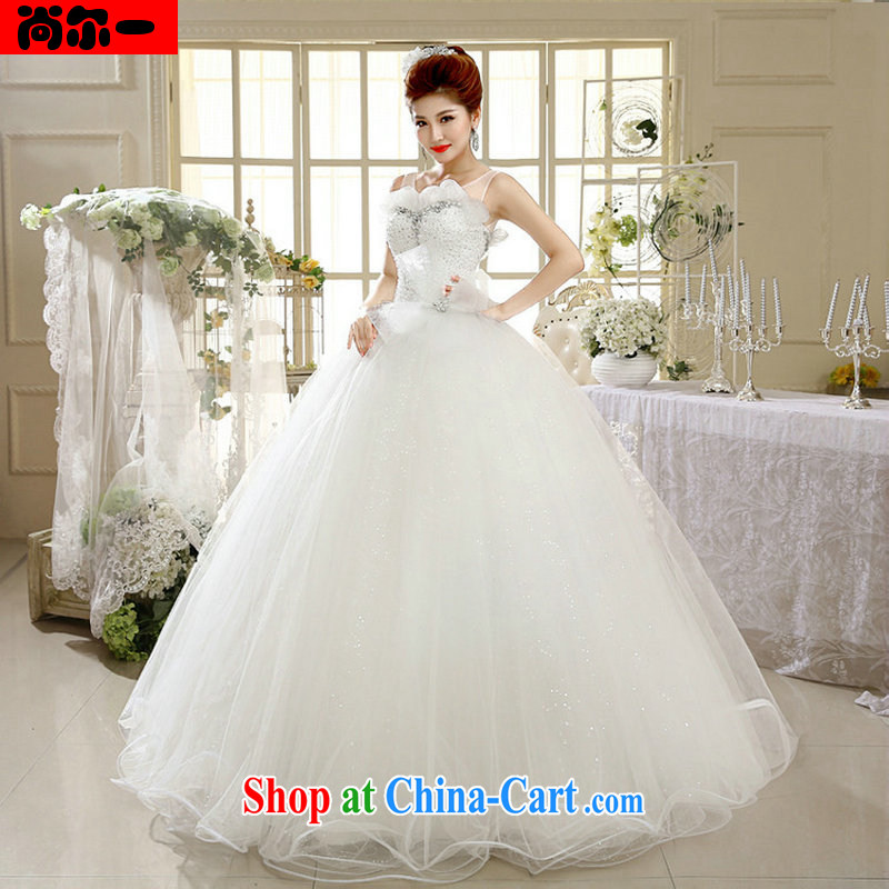 It's a snap to Princess wedding a Field double-shoulder Korean lace bare chest wedding tie shaggy skirts XS 1305 white XXL