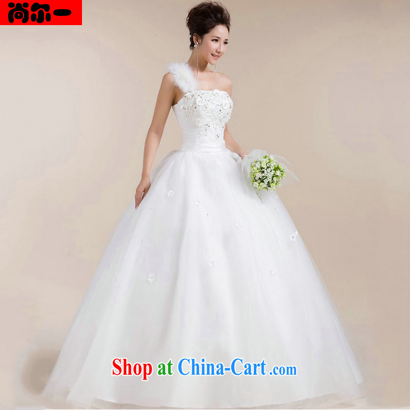 There's a wedding dress Korean wiped their bra straps tail tied with sweet a shoulder the shoulder wedding XS 1303 white XXL
