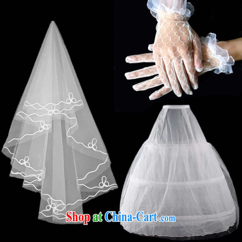 A good service is a high quality bridal accessories wedding dresses the mandatory wedding and yarn gloves skirt stays 3 piece white