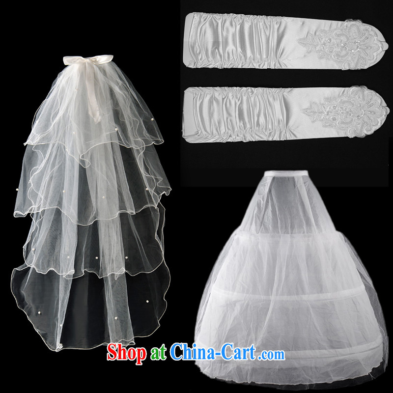 A good service is a good wedding bridal wedding dress accessories the mandatory head yarn gloves petticoat stays 3 piece white