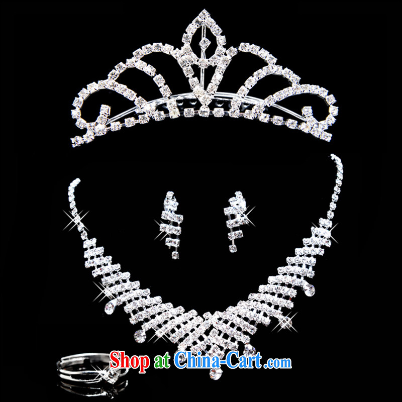 A good service is amazing, bridal water Drill Set chain necklace jewelry ring Crown 4 piece white