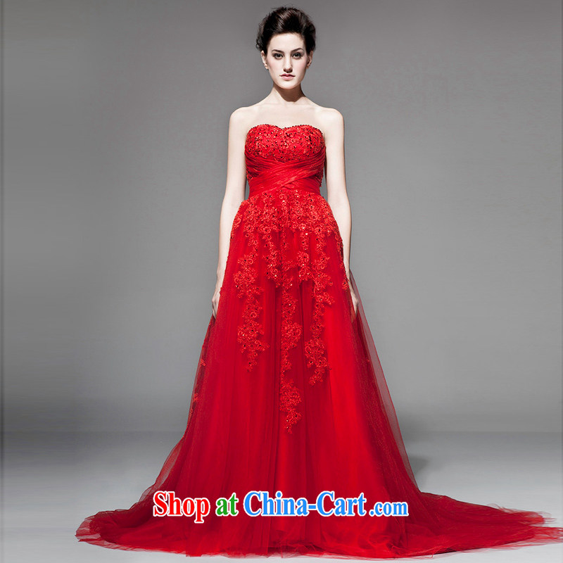 A yarn 2015 new Korean-style bare chest wedding embroidery the waist small tail shaggy skirts pregnant wedding NW 0718 red XL code 20 days pre-sale