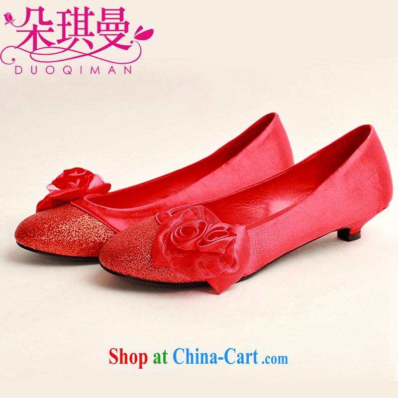 Flower Angel Cayman Korean wedding shoes Red flat wedding shoes wedding shoes wedding shoes low heel shoes dresses larger pregnant women single shoes 39