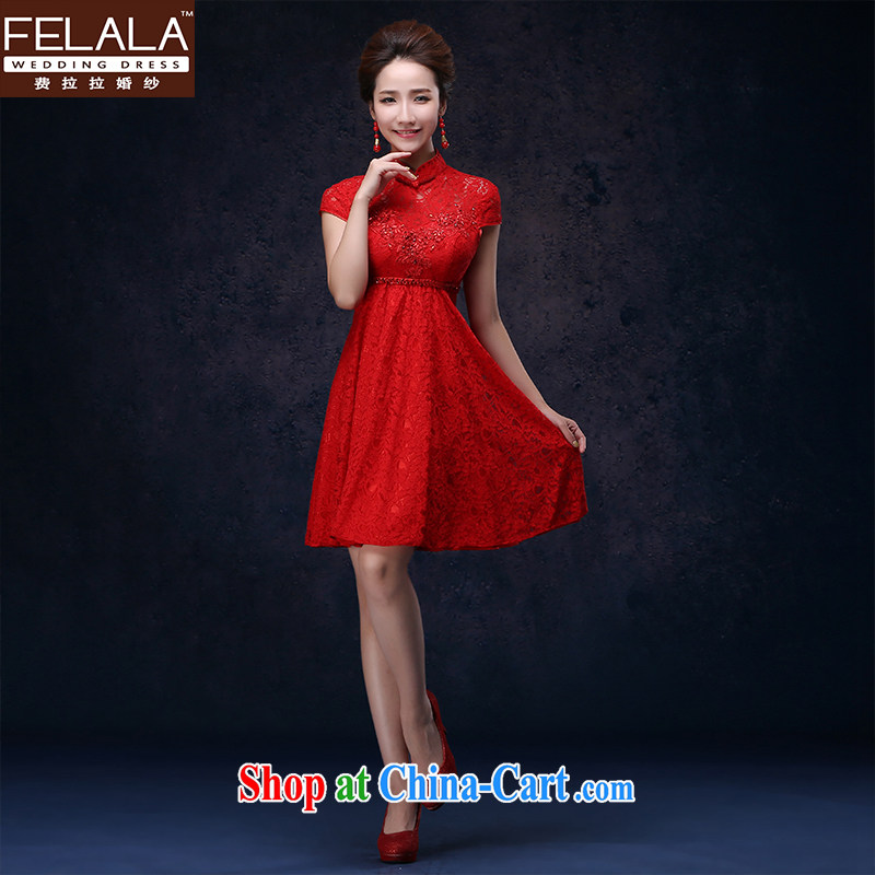 Ferrara 2015 New Red bridesmaid toast serving marriages Chinese improved short cheongsam dress L (2 feet 1)