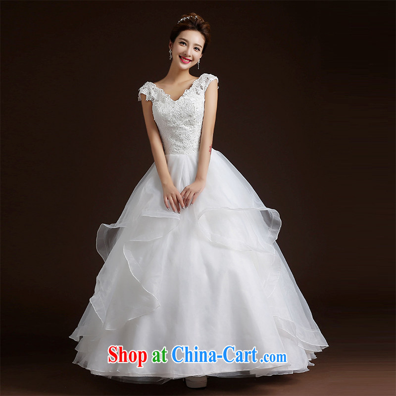 Qi wei summer 2015 new wedding dresses shoulders with strap wedding Princess shaggy dress bridal wedding dress video thin wedding dress white XL