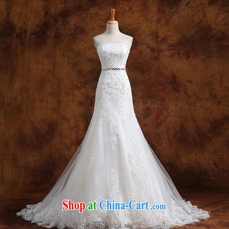 Wei Qi winter wedding dresses new 2015 erase chest-waist crowsfoot wedding small tail beauty graphics thin lace simple wedding dress white custom plus _50