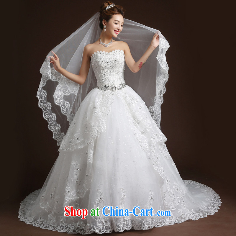 Wei Qi 2015 new summer wedding dresses bridal wipe the chest tail wedding band stylish graphics thin marriage wedding dress white XL