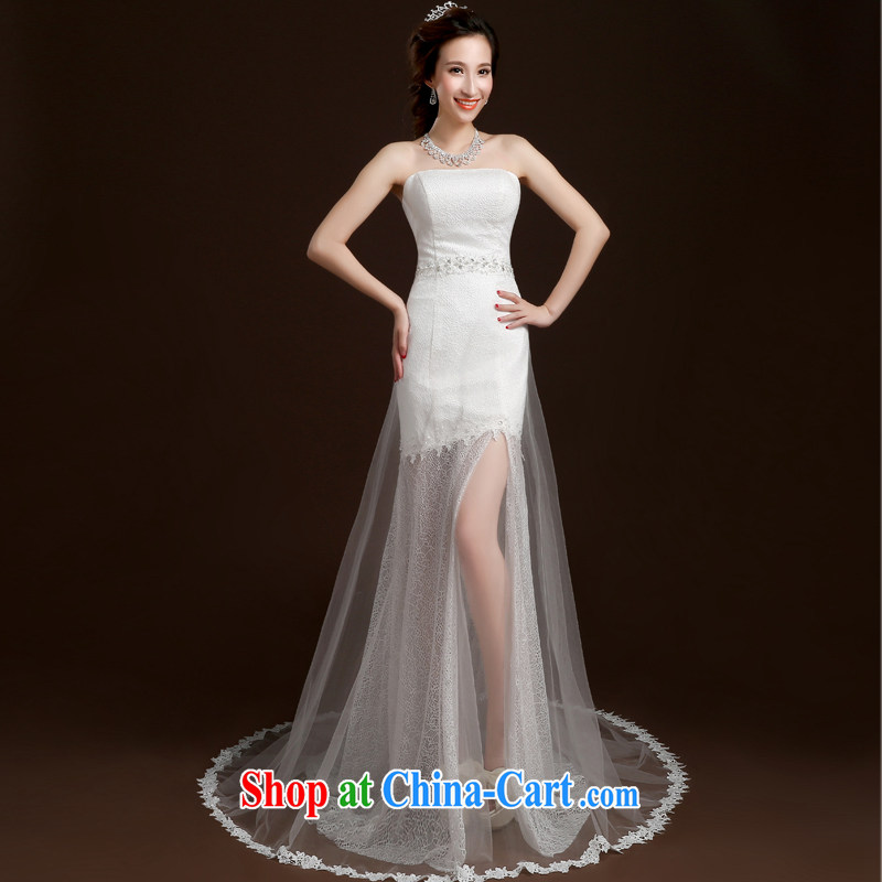 Qi wei summer 2015 new stylish erase chest crowsfoot beauty wedding dresses bridal wedding translucent small tail wedding band wedding white M