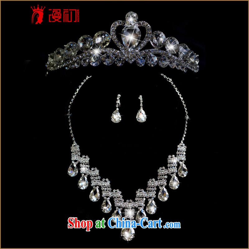 Early definition bridal head-dress 3 Piece Set Korean-style wedding dresses jewelry jewelry hair accessories Crown necklace ear fall wedding accessories silver