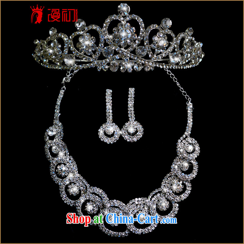 Early definition brides and wedding accessories hair accessories Crown wedding ceremony jewelry 3-Piece wedding Pearl Korean-style kit necklace