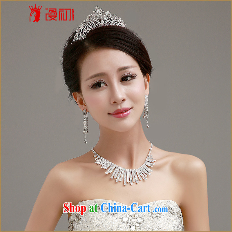 Early definition 2015 new wedding jewelry bridal wedding Crown necklace ear fall 3-Piece Standard wedding accessories