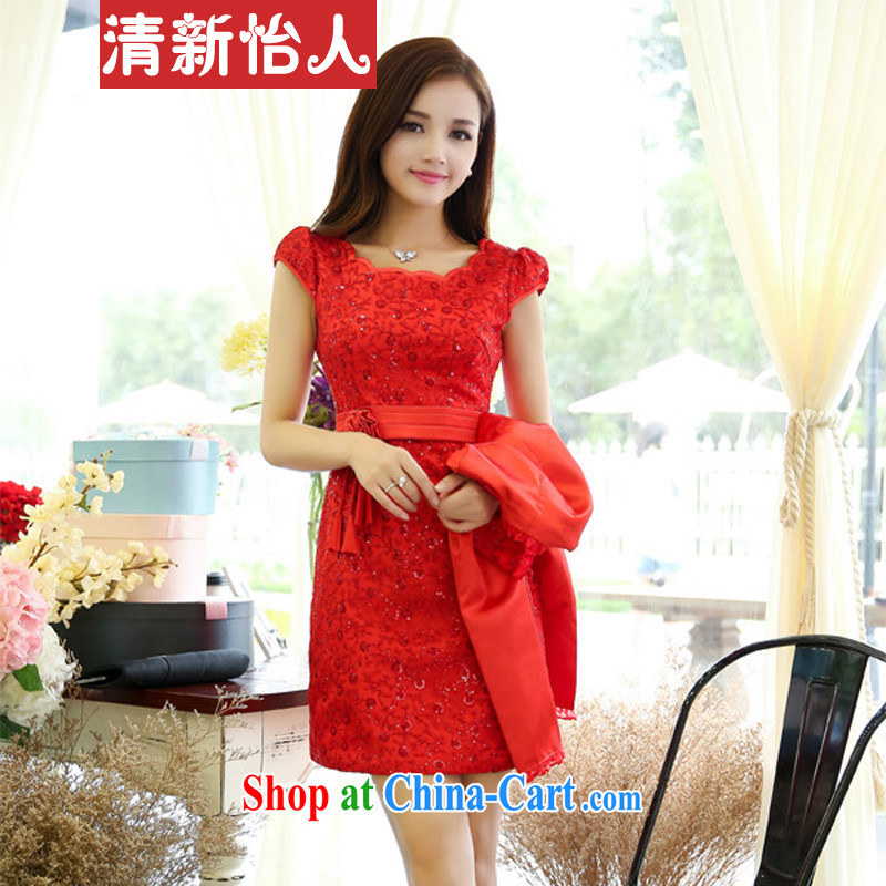 Fresh air, Autumn 2015 New Name Yuan Hong Kong Small wind long-sleeved beauty graphics thin XL marriage wedding dress dresses red XXXL